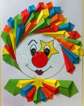 Как сделать аппликацию из бумаги клоуна