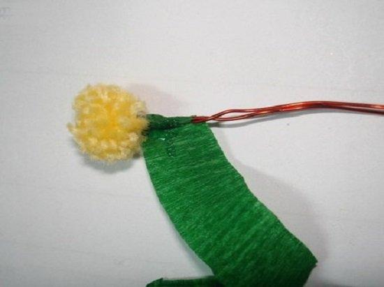 Мимоза своими руками из ниток 38