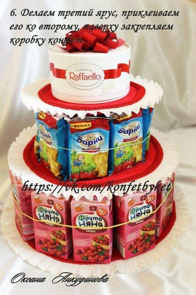 Как сделать торт из конфет для детей своими руками