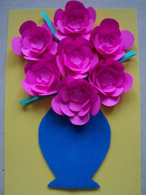 Цветочки из цветной бумаги для детей